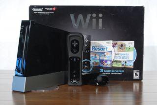 Wii Sports Black Console Hardware Bundle 2 Games Sports Resort