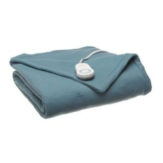 Sunbeam Jade Blue Fleece Electric Heated Throw Blanket