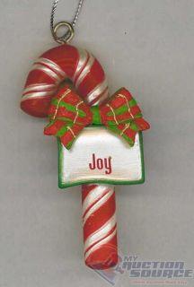Joy Candy Cane Christmas Ornament Ganz