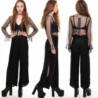 Vtg 80s DRAPED Avant Garde BEADED Wide Leg PALAZZO PANTS Dress