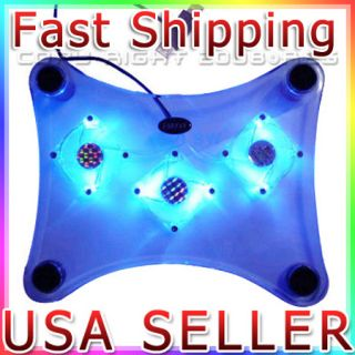 Laptop PC USB Notebook Cooler Cooling Pad Mat 3 Fan LED
