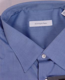 Ermenegildo Zegna Shirt $345 French Blue Oxford Dress Shirt 19 1 4 49E