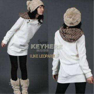 K0E1 Womens Autumn Long Coat Leopard Hoodies Sweatshirt Top Parka