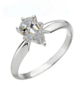 00 Carat Pear Cut 6 Prong Solitaire Engagement Ring Solid 14k Gold