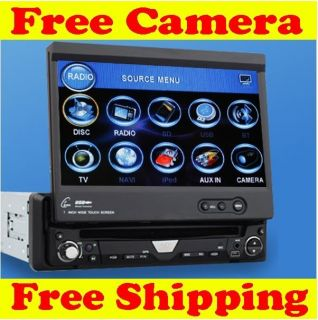 Single DIN Car CD DVD Player Stereo iPod SD TV Free Cam