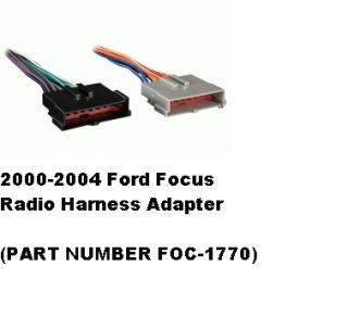 2001 2002 2003 2004 Ford Focus Radio Wiring Harness Adapter