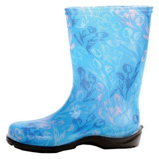 Tulip Blue Printed Garden Boots Rain Boots Womens Sizes 6 11