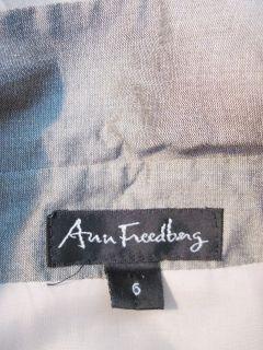 Ann Freedberg Gray Green Rayon Linen Button Front Shirt Jacket 6