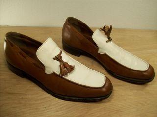 Vintage French Shriner 2 Tone White Brown Leather Spectator Mens