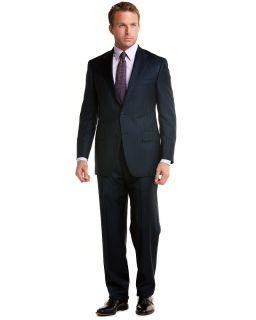 hickey freeman navy tonal stripe 2 button suit $ 1600