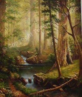 details title original forest art painting size 36 x 30