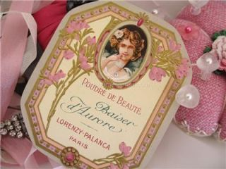 Antique French Perfume Label Cameo Lady Paris Powder Box