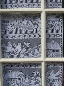 French Lace Curtains 2 White Window Door Panels House Birds 66 x 18