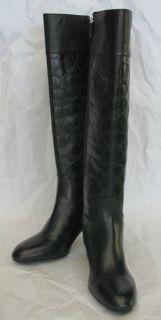 Signature Black Leather Tall Dress Boots Gail 7 5 M $298 New