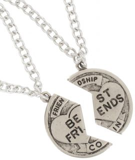 Pendant Bff Necklace Set Friendship Coin Best Friends Silver Tone