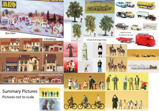 French Village Mega Set HO 1 87 Buildings Cars Trees Vines Figures Etc