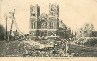 GA Gainesville Winter Scene Fallen Power Lines Church Ice Albertype