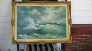 EUGENE GARIN ORIGINAL SEASCAPE OIL PAINTING