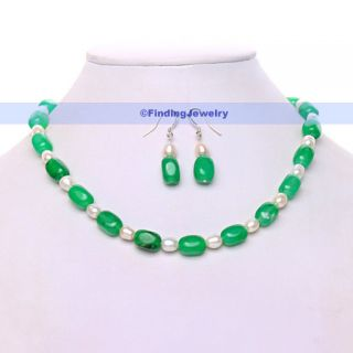16 Green Jade Freshwater Pearl Necklace Earrings Set