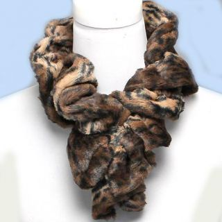 Black Faux Fur Animal Leopard Ruffled Stretch Scarf 33X5