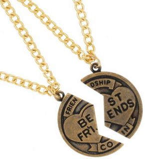 Pendant Bff Necklace Set Friendship Coin Best Friends Gold Tone
