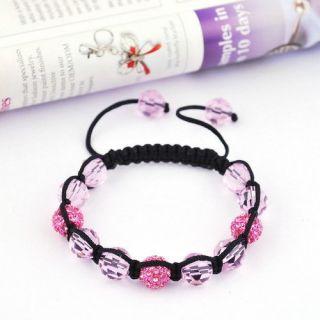 Friendship Bracelet Braid Chain Pink Crystal Disco Rhinestone Ball