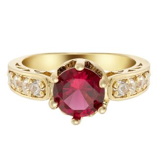 FASHION JEWELRY ROUND CUT FINE TOPAZ RED GARNET GOLD TONE RING SZ O/7