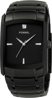 New Fossil Black Stainless Steel Genuine Diamond Dial Mens Watch