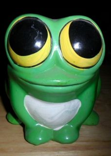 Vintage Ardco Small Porcelain Frog Planter Big Buggy Eyes