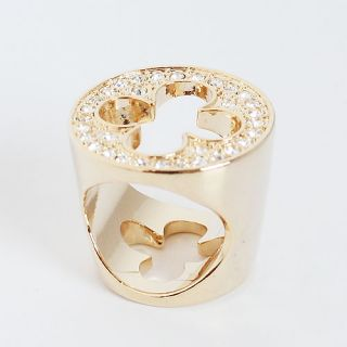 Four Leaf Clover Crystals Lucky Charm Ring Size 7 Gold Plated