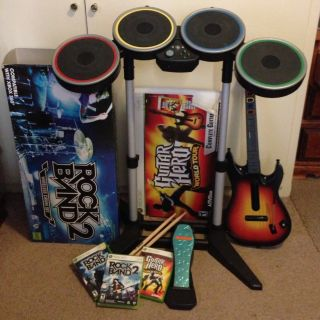 360 Rock Band 1 And 2 + Drum Set. Guitar Hero World Tour Game + Guitar