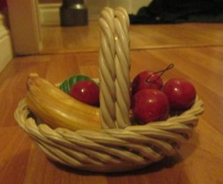 Fruit Basket Made In Italy Banana Cherry Ceramic Hand Made VINTAGE