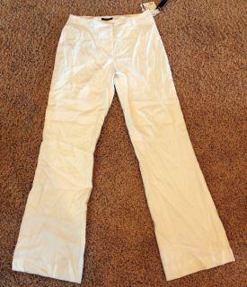 NWT Womens Anne Klein white Linen Blend Pants Slacks~ Wide Leg Size 4