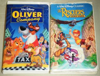 RESCUERS DOWN UNDER & OLIVER & COMPANY Walt Disney Animated VHS Movie