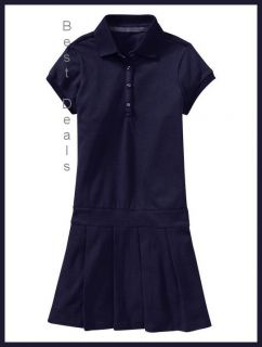 Gap Kids Uniform Girls Polo Pleated Dess Navy Blue New Free Fast