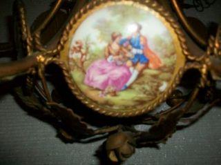 Antique Chandelier Fragonard 6 Porcelain Tile Courtship 1940s Tole