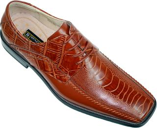 Stacy Adams Fulbright Cognac Alligator / Ostrich Print Shoes   Click