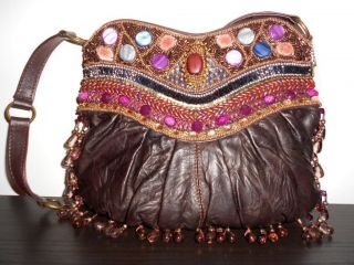MARY FRANCES Winter Deja Vu Hobo Purple Bronze Bag Large Bead Handbag