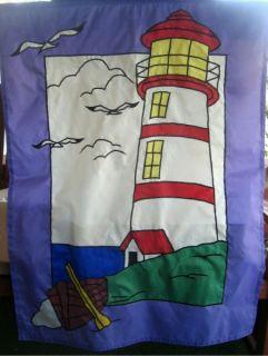 Lighthouse Garden Flag Banner 40 x 28 Red White Stripes Purple Boat