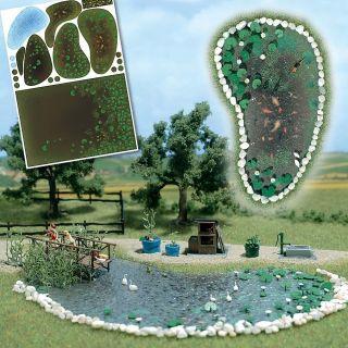 HO Busch Garden Koi Pond Scenery Detail Kit 1210