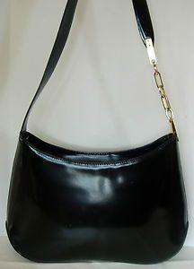Francesco Biasia Black Smooth Leather Shoulder Bag Purse Handbag