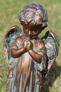 Praying Angel Cherub Bronze Patina Garden Statue