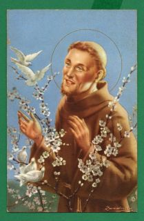St Francis of Assisi w Birds Flowers Vtge DAT 1955 Holy Card Postcard