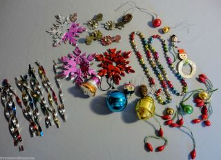 Vintage Christmas Tree Ornaments Mercury Glass Garland Metal Paper