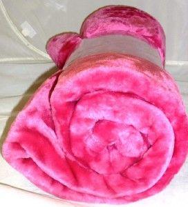 Large Pink Mink Faux Fur Blanket Fleece Throw 127x152cm