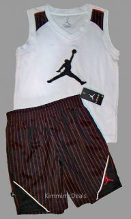 Air Jordan Nike Boys Basketball Tank Shirt Pinstripe Shorts Set 7 New