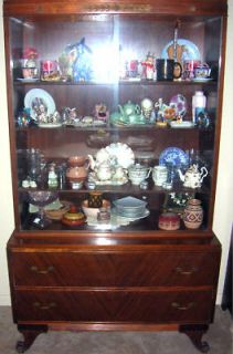 ANTIQUE MAHOGANY CHINA CABINET RWAY FURNITURE CO 1940s 1950s