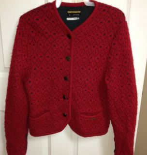 Geiger Sweater Austria Xmas Red Cardigan 38 Bust (38Euro) Boiled Wool