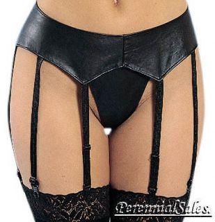 New Black Leather 8 Strap Garter Belt Size OS or XL
