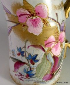 Antique Royal Bonn Milk Pitcher HP Orchids Franz Anton Mehlem